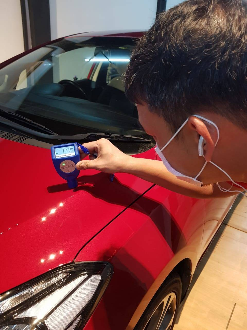 Coating thickness gauge.  inspect the car before a paint correction