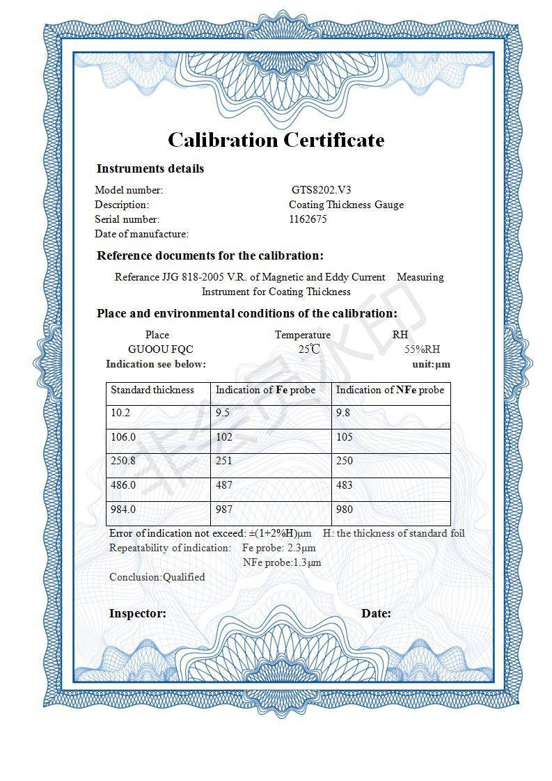 Calibration certificate by our company along with each product